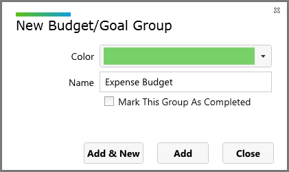 creating the expense budget group