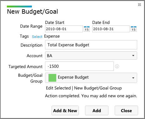creating the total expense budget