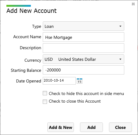 Using account for mortgage