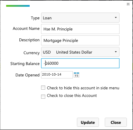 Using account for mortgage princple