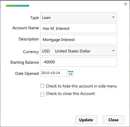 Using account for mortgage interest