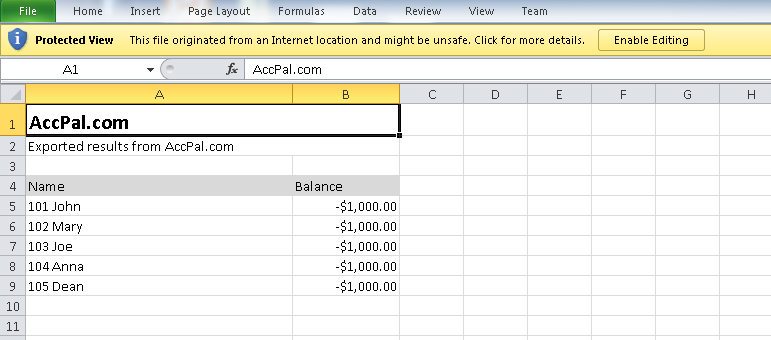 Export to excel to process invoice, monthly statement