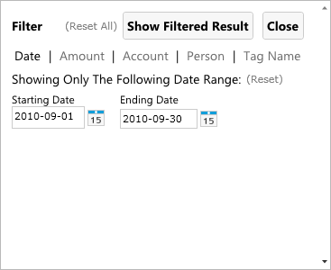 Account Statement setting date range