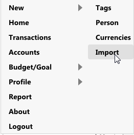 AccPal accounting - import transactions