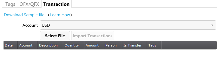 Selecting an account for import