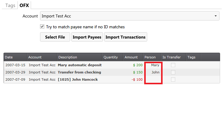 AccPal accounting - transactions matching payees