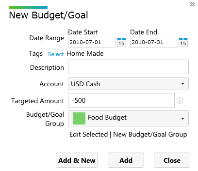 Create budget in AccPal accounting software